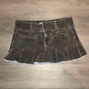 Hydraulic cord ruffle mini skirt